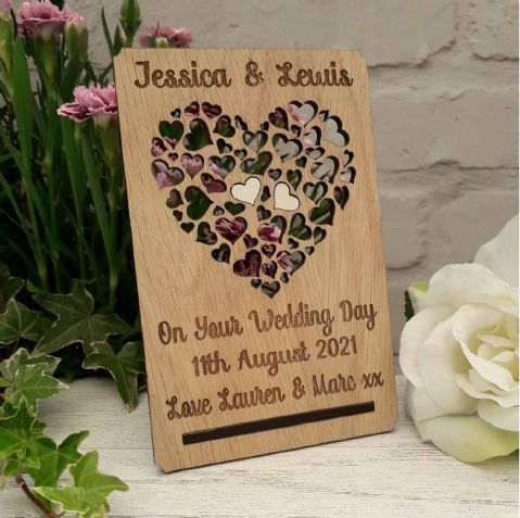 Personalised Wedding Day Love Hearts Card Plaque, Bride Groom Gift